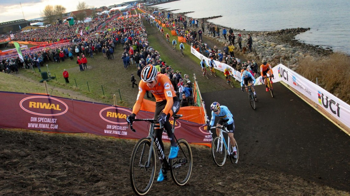 Mathieu van der Poel at the front of lap one. Elite Men, 2019 Cyclocross World Championships, Bogense, Denmark. © B. Hazen / Cyclocross Magazine
