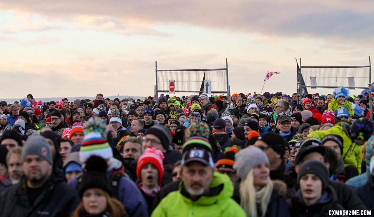 The fans were treated to a back-and-forth early race, and dominant performance late. Elite Men, 2019 Cyclocross World Championships, Bogense, Denmark. © B. Hazen / Cyclocross Magazine