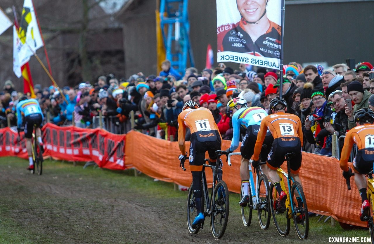 One of Van Aert's bikes was predominantly white. Elite Men, 2019 Cyclocross World Championships, Bogense, Denmark. © B. Hazen / Cyclocross Magazine