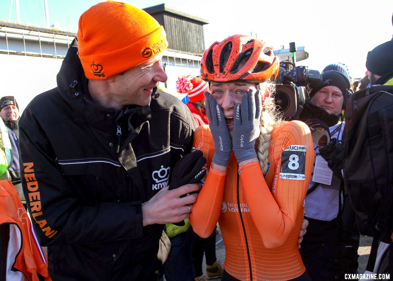 Van der Hiejden was emotional after her big win. U23 Women, 2019 Cyclocross World Championships, Bogense, Denmark. © B. Hazen / Cyclocross Magazine