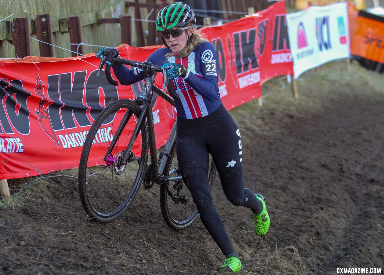 Katie Clouse had a big ride for Team USA on Sunday. U23 Women, 2019 Cyclocross World Championships, Bogense, Denmark. © B. Hazen / Cyclocross Magazine