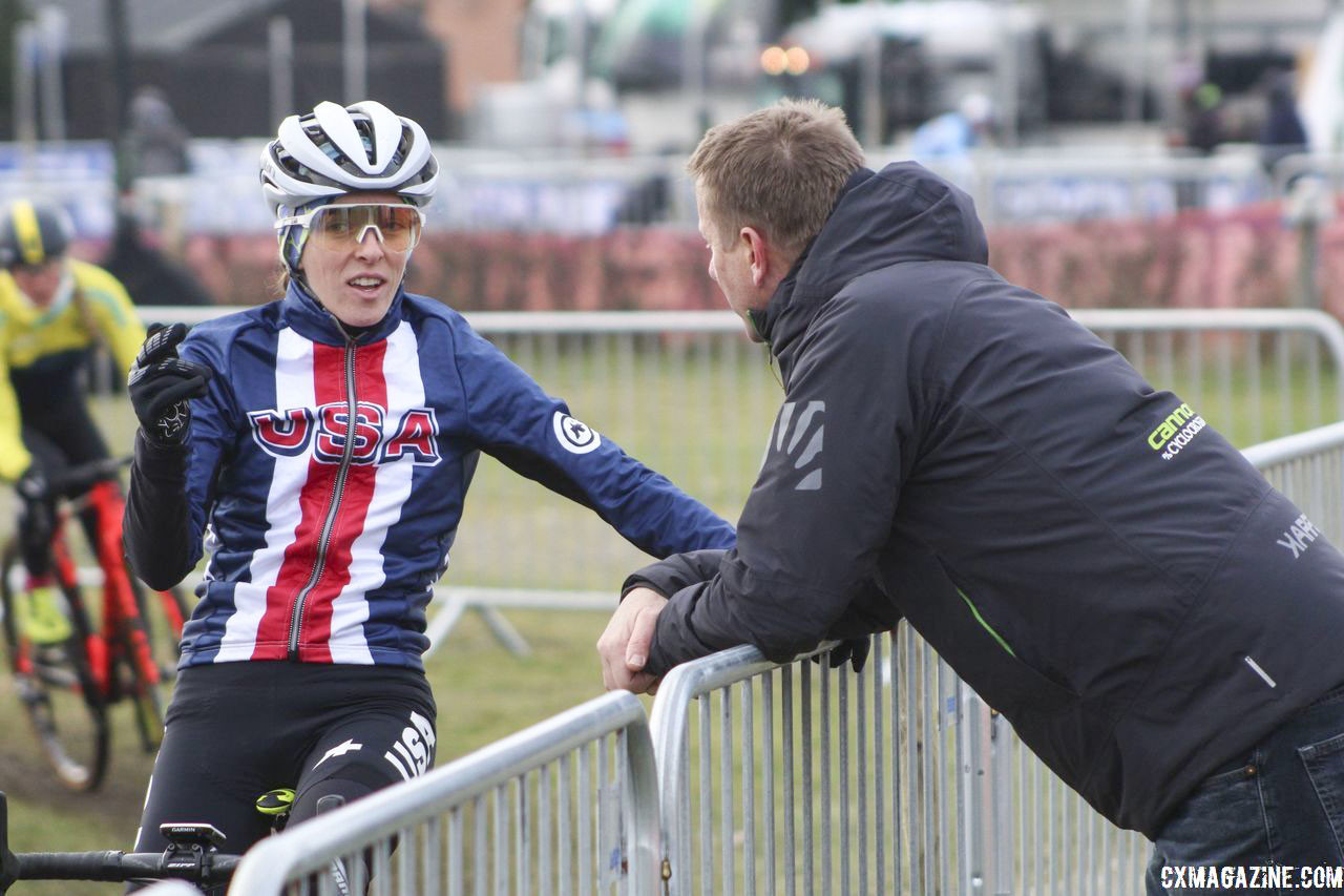 Although Keough will be in Europe most of the coming season, Thorne sees a role for her helping Clouse at the beginning of the season. 2019 Bogense World Championships Course Inspection, Friday Afternoon. © Z. Schuster / Cyclocross Magazine