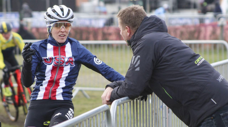 Kaitie Keough and Stu Thorne talk about the course. 2019 Bogense World Championships Course Inspection, Friday Afternoon. © Z. Schuster / Cyclocross Magazine