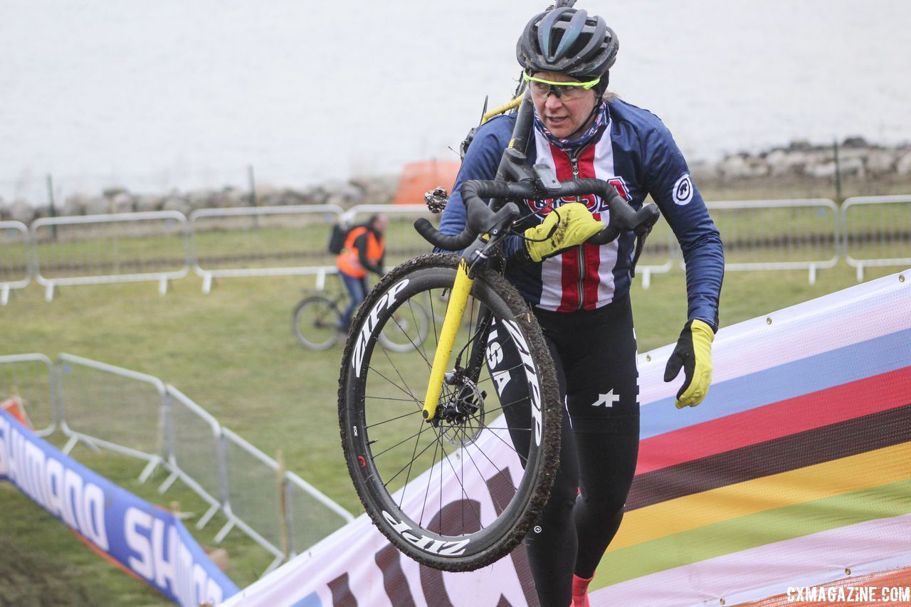 Meredith Miller is working with USA Cycling to help the younger rides at Worlds, including pre-riding the course with them. 2019 Bogense World Championships Course Inspection, Friday Afternoon. © Z. Schuster / Cyclocross Magazine