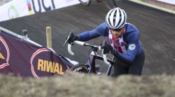 Stephen Hyde hikes up one of the steep inclines. 2019 Bogense World Championships Course Inspection, Friday Afternoon. © Z. Schuster / Cyclocross Magazine