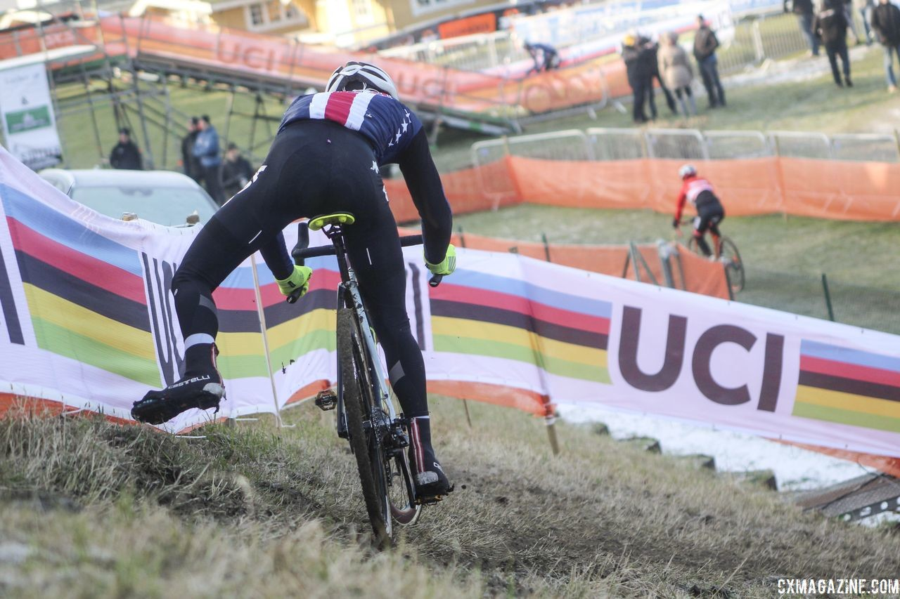 The off-camber descent is a tricky feature riders were trying to dial in. 2019 Bogense World Championships Course Inspection, Friday Morning. © Z. Schuster / Cyclocross Magazine