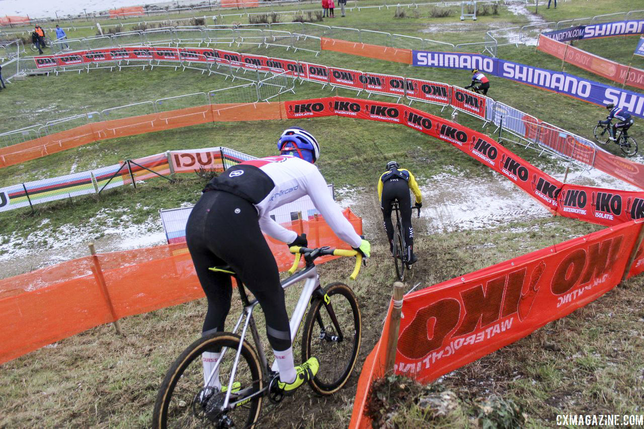 The drops are quite steep. 2019 Bogense World Championships Course Preview. © Z. Schuster / Cyclocross Magazine