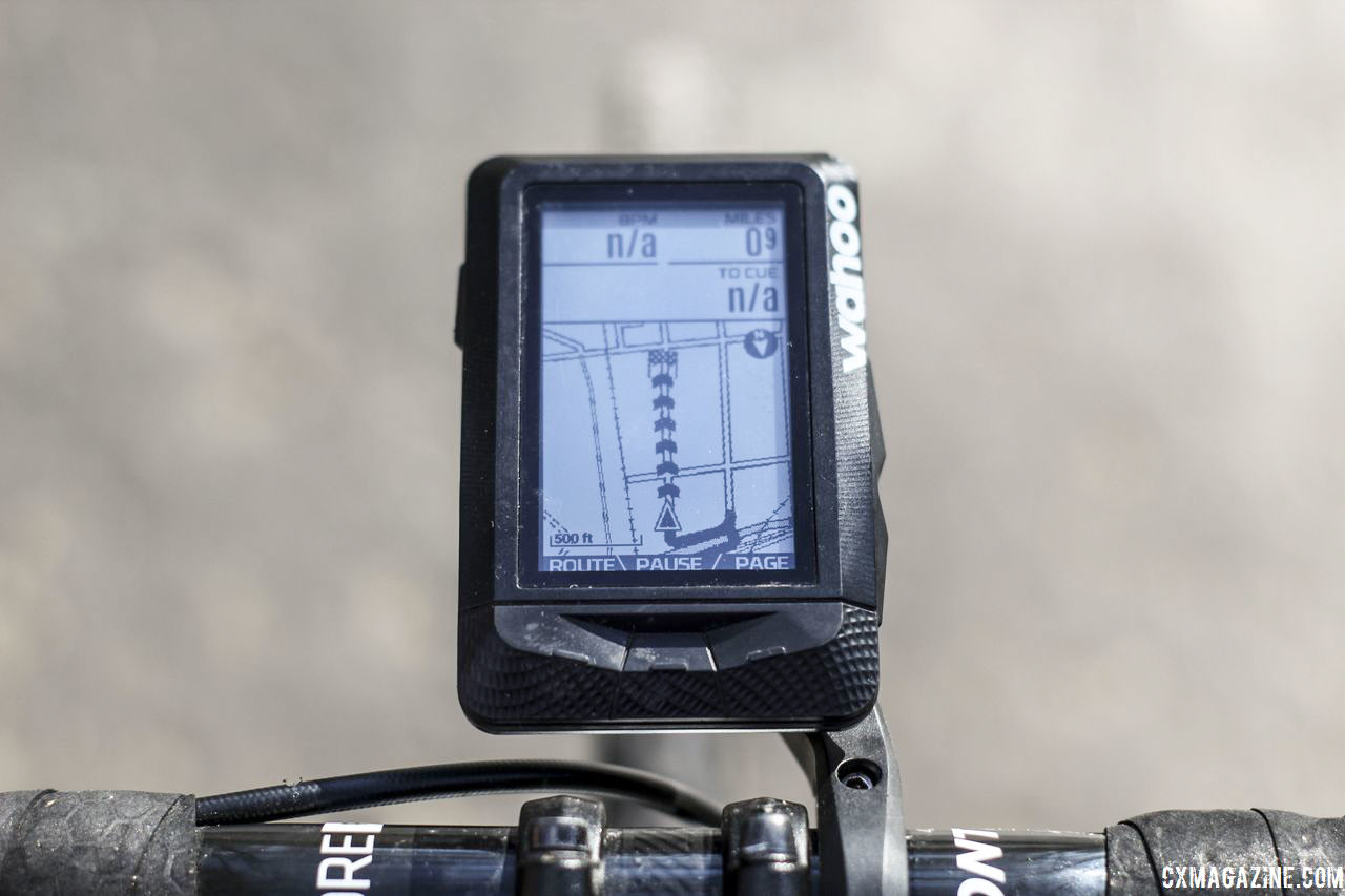 Following a route is a snap with the built-in base map and route tool. Wahoo Elemnt GPS Cycling Computer. © Z. Schuster / Cyclocross Magazine