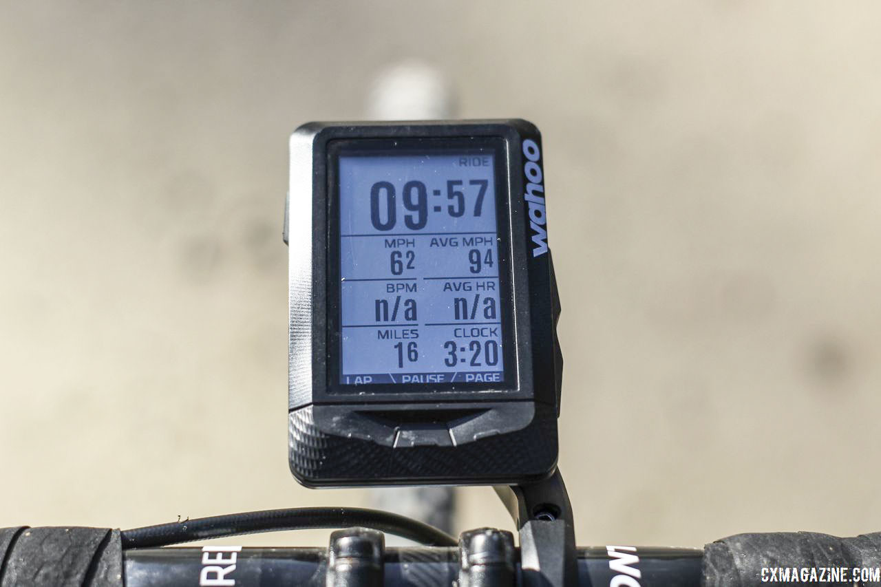The Elemnt displays up to 11 data fields. Seven fields fit the screen nicely. Wahoo Elemnt GPS Cycling Computer. © Z. Schuster / Cyclocross Magazine