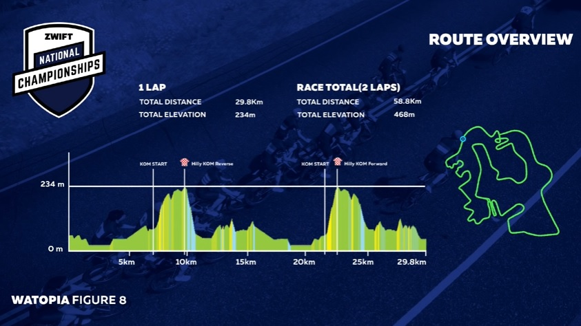 This year's race included two short climbs per lap. photo: Zwift Nationals live stream
