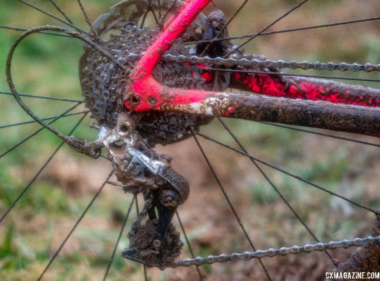 SRAM Rival 1 derailleurs use the same clutch system found in pro level Force 1 derailleurs to provide better chain retention. Eire Chen's Specialized Crux. Junior Women 11-12. 2018 Cyclocross National Championships, Louisville, KY. © A. Yee / Cyclocross Magazine