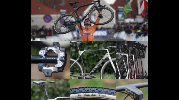 We profile Mathieu van der Poel's winning Canyon Inflite CF SLX. 2019 Cyclocross World Championships, Bogense, Denmark. © Cyclocross Magazine