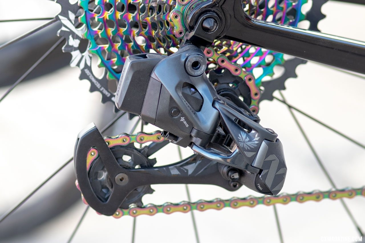 The XX1 and X01 Eagle derailleurs offer lower and wider-range gearing, but you're limited to the 10-50 cassette. SRAM RED eTAP AXS and Eagle AXS unveiled. © Cyclocross Magazine