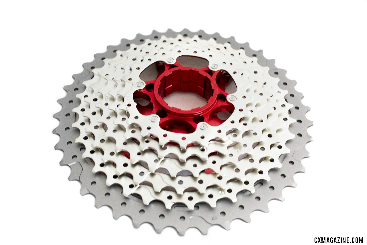 The SunRace CSMX8 11-speed 11-42 cassette features an alloy largest cog. © A. Yee / Cyclocross Magazine