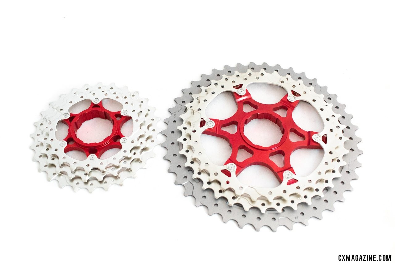 The SunRace CSMX8 11-speed 11-42 cassette relies on two alloy spiders that carry 6 of the 11 cogs. © A. Yee / Cyclocross Magazine
