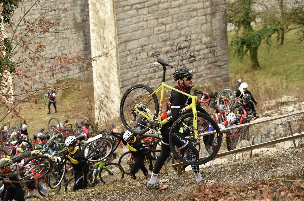 The race's cyclocross lineage remains in 2019. 2019 Tortour Winter Gravel Stage Race, Switzerland. © alphafoto.com