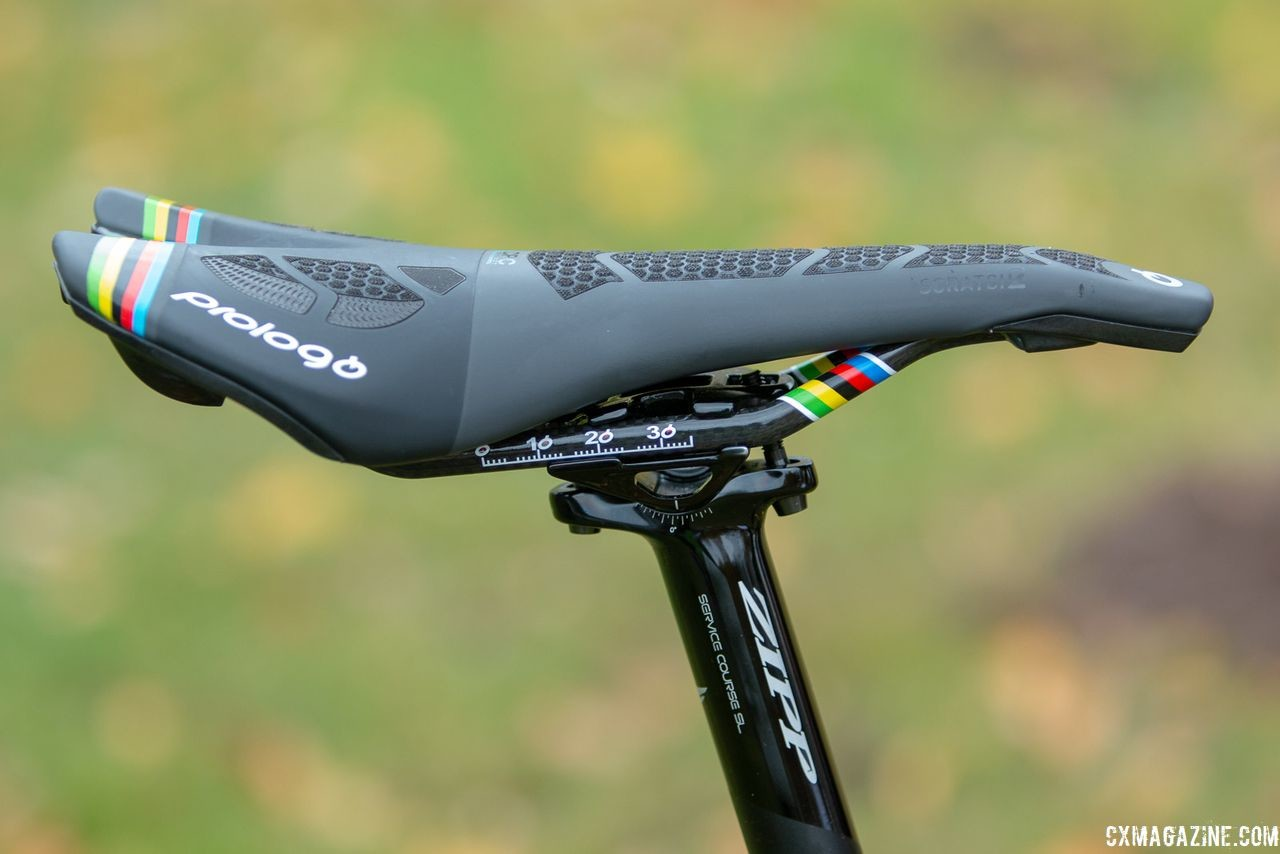 Van Aert used a Prologo Scratch 2 saddle with some added stripes this season. At Gavere, he had a zero-setback Service Course SL seatpost.  Wout van Aert's Stevens Super Prestige cyclocross bike. © A. Yee / Cyclocross Magazine
