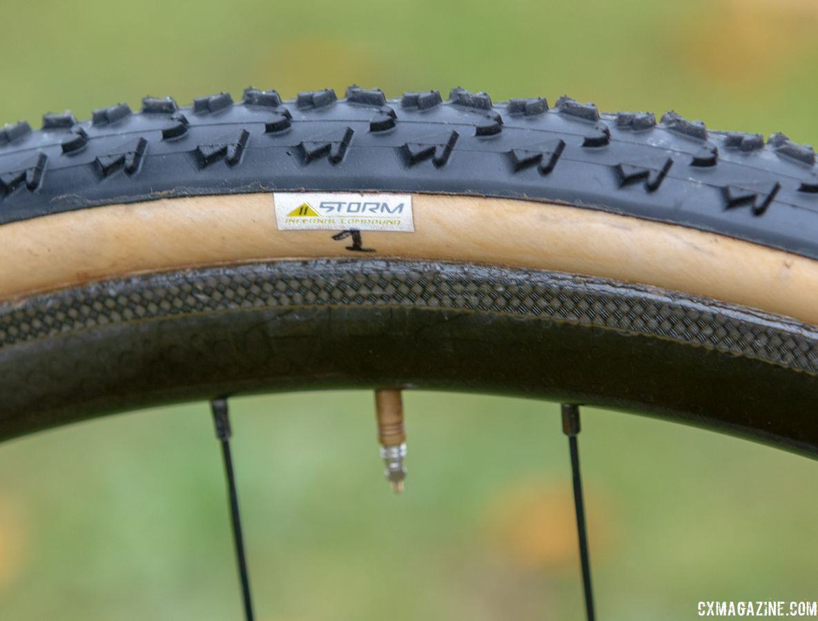 Van Aert's tires have the company's prototype 11 Storm compound designed to improve performance. Wout van Aert's Stevens Super Prestige cyclocross bike. © A. Yee / Cyclocross Magazine