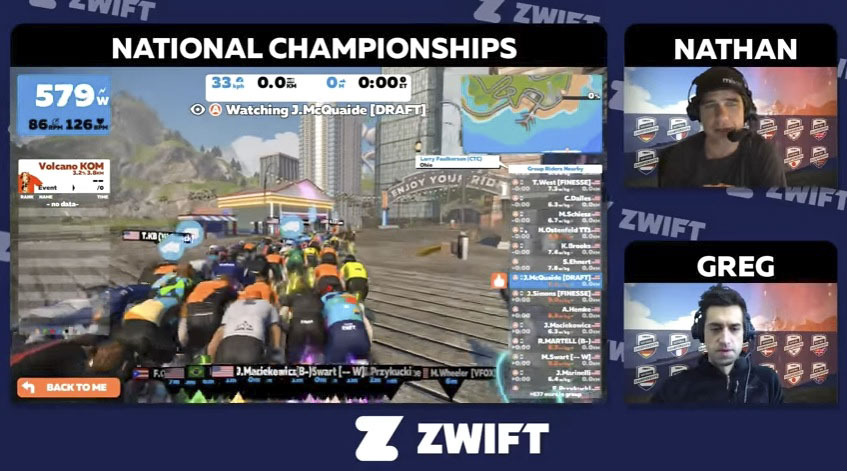 Zwift broadcasts a number of races with commentary. photo: Zwift Nationals live stream