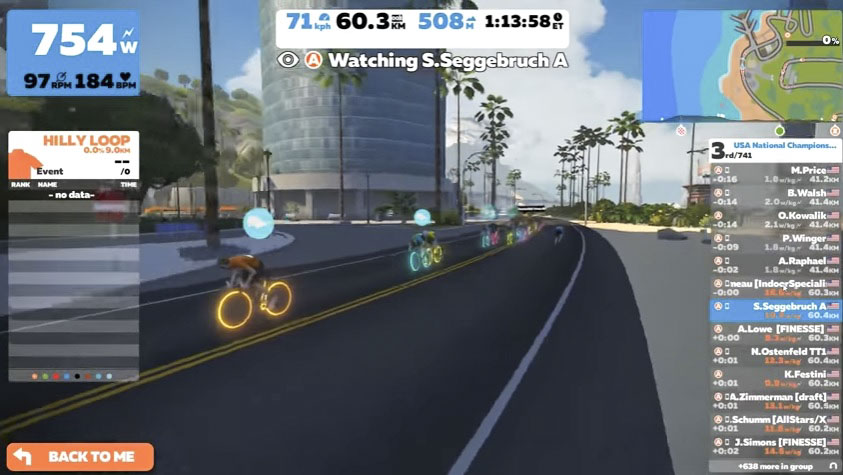 The Men's race finished with a sprint as well. photo: Zwift Nationals live stream