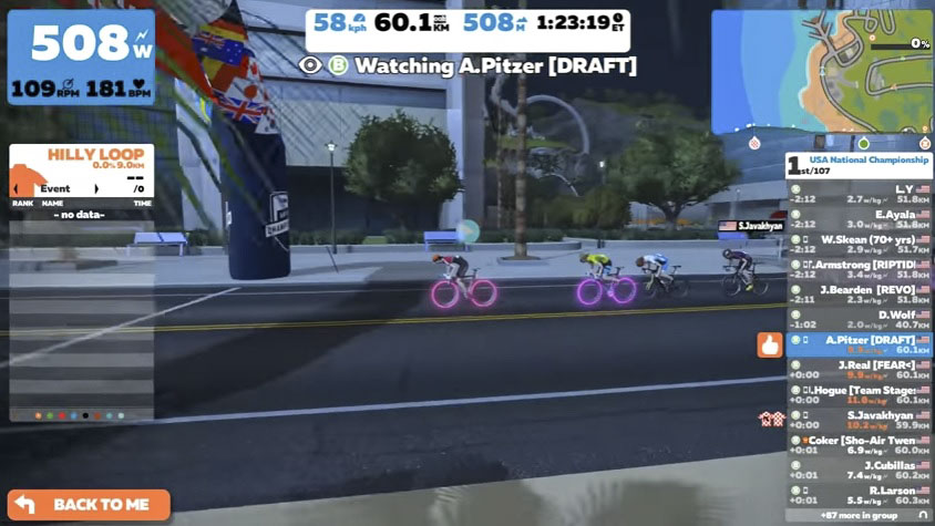 Angela Pritzer sprinted to a win in at Women's Zwift Nationals. photo: Zwift Nationals live stream