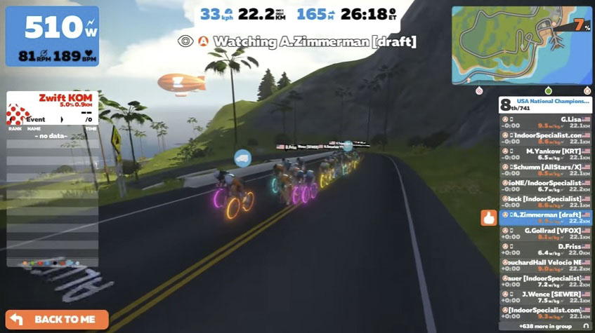 Riders have to be able to drop yuge power numbers to hang at the front of Zwift races. photo: Zwift Nationals live stream