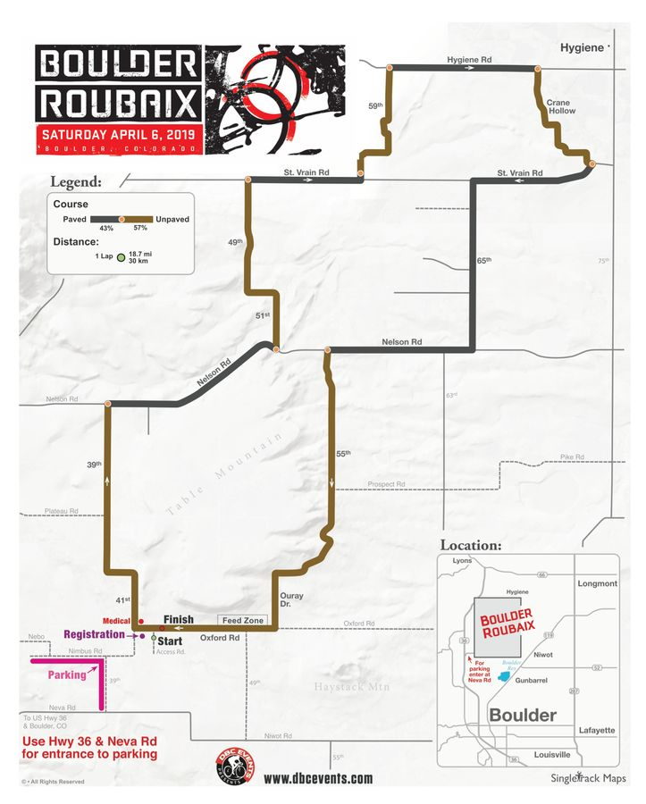 2019 Boulder Roubaix Course Map