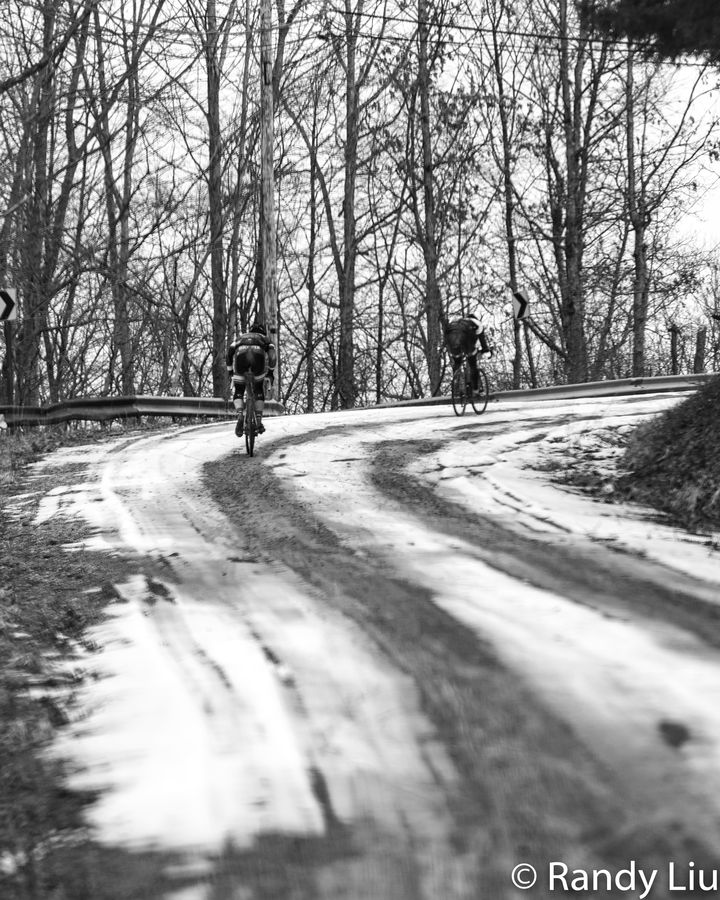 Even though temps were in the 40s, there was some snow on the ground. 2019 Baitin' the Shark Gravel Race, Ohio. © Randy Liu
