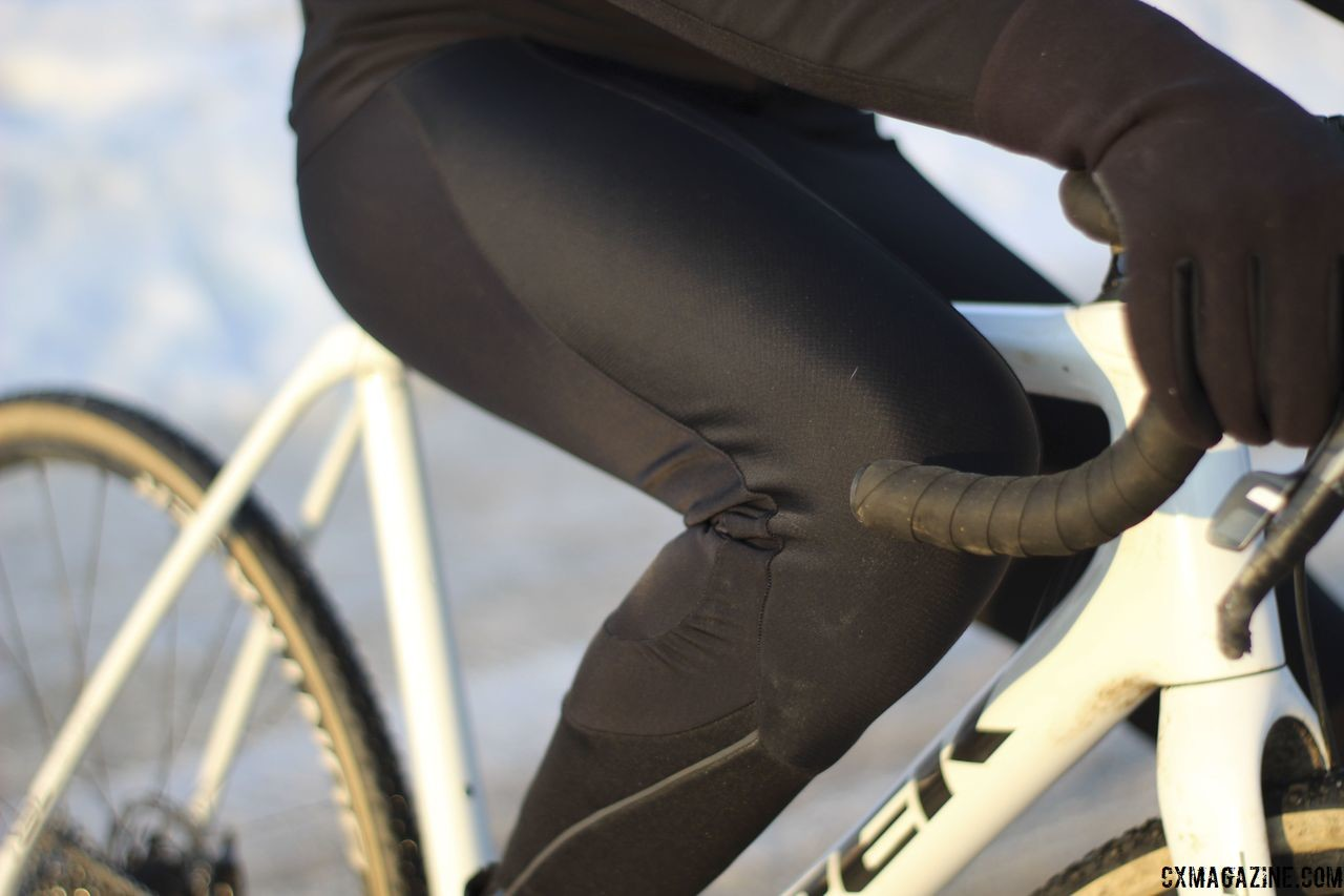 The tops of the tights are waterproof. Shimano S-PHYRE Winter Gear. © Z. Schuster / Cyclocross Magazine
