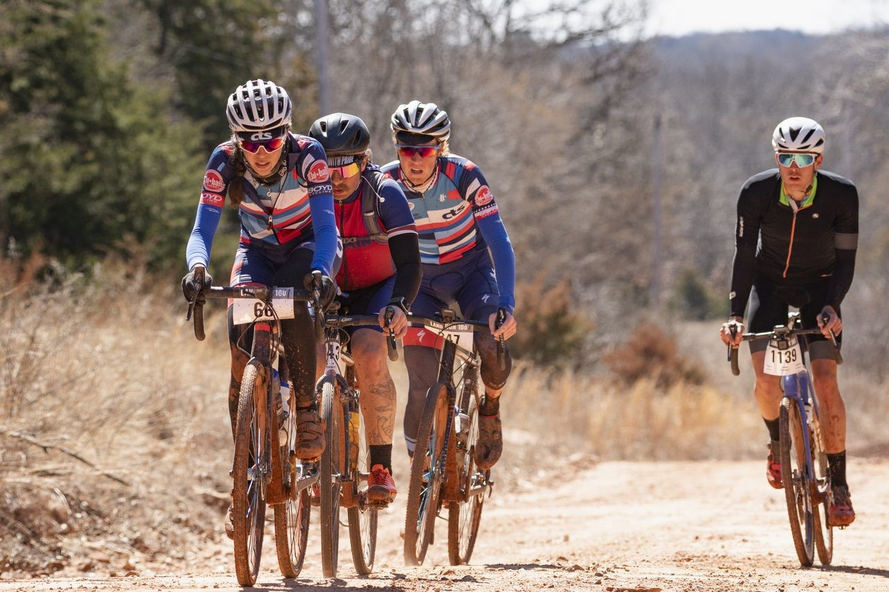 Nina Laughlin leads the way in her small group. 2019 Land Run 100. photo: Dustin Michelson / Gravel Guru