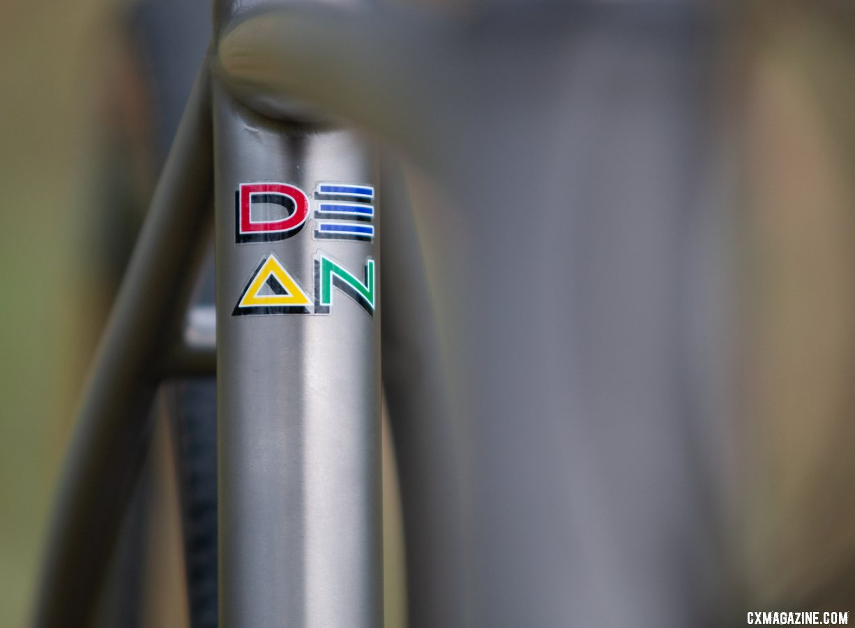 The Dean Bikes Team Edition titanium cyclocross, with retro four color graphics. © A. Yee / Cyclocross Magazine