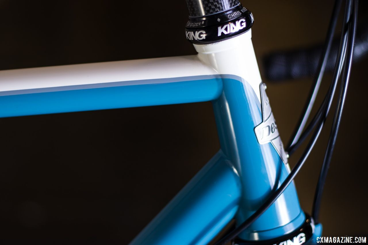 White and blue is one of the two colorways offered for the Curley bike. DeSalvo's 20th anniversary gravel bike. 2019 NAHBS Sacramento. © A. Yee / Cyclocross Magazine