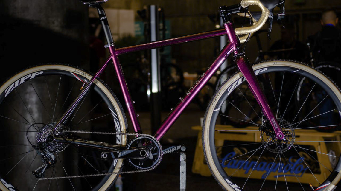 It's an enigma... Enigma titanium cyclocross bike. 2019 NAHBS Sacramento. © A. Yee / Cyclocross Magazine