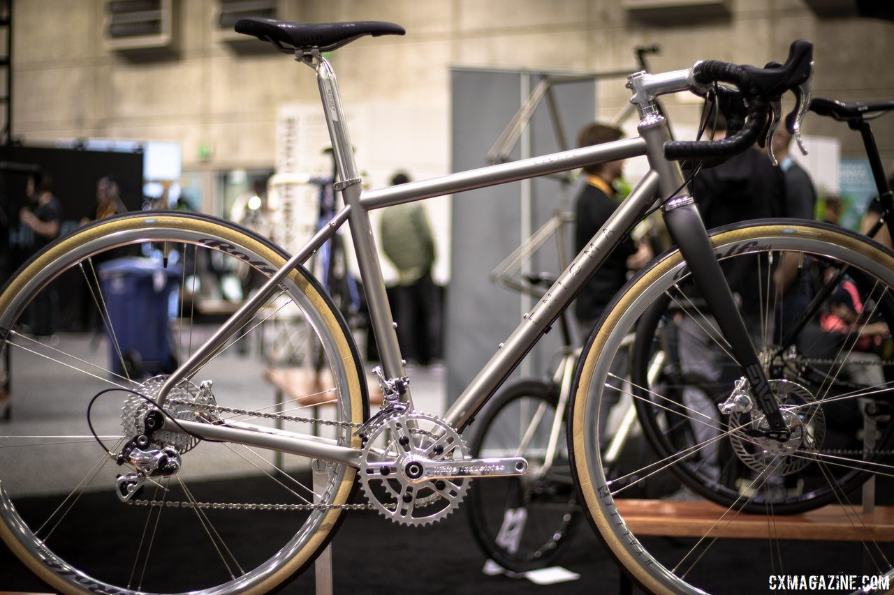 A titanium Engima Escape with polished Campagnolo components made for James Huang. 2019 NAHBS Sacramento. © A. Yee / Cyclocross Magazine