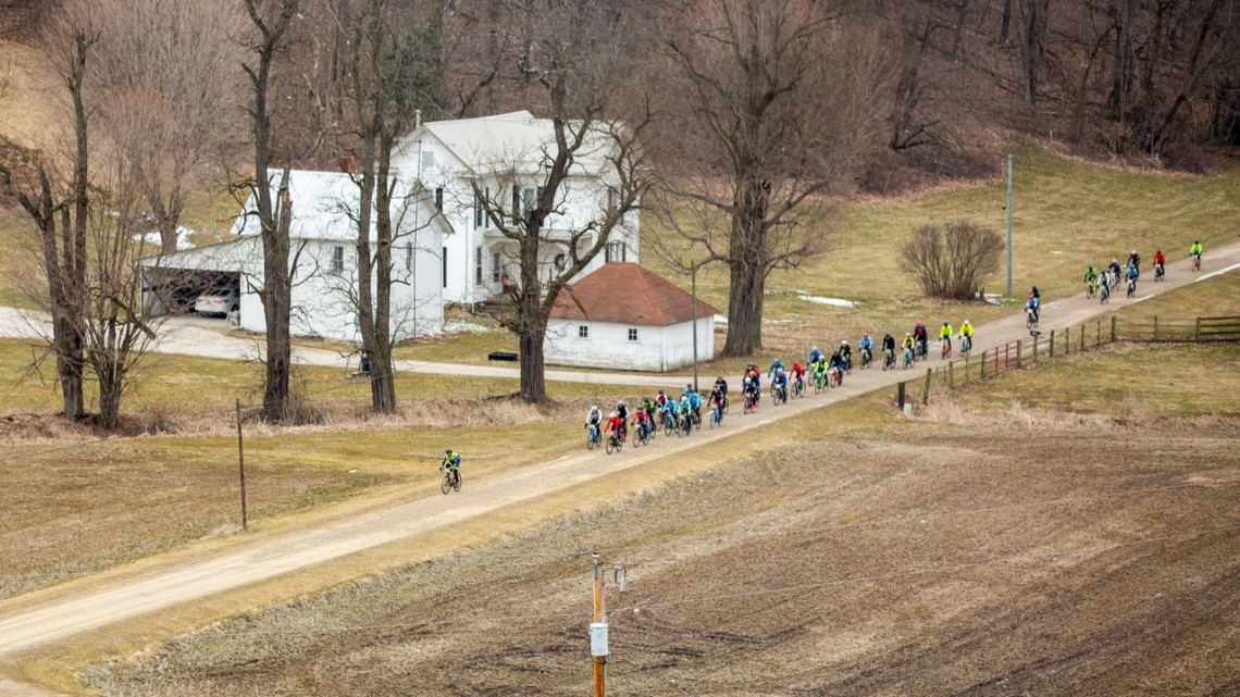 A lone rider goes off the front. 2019 Baitin' the Shark Gravel Race, Ohio. © Jen Adams, Limelight Studios