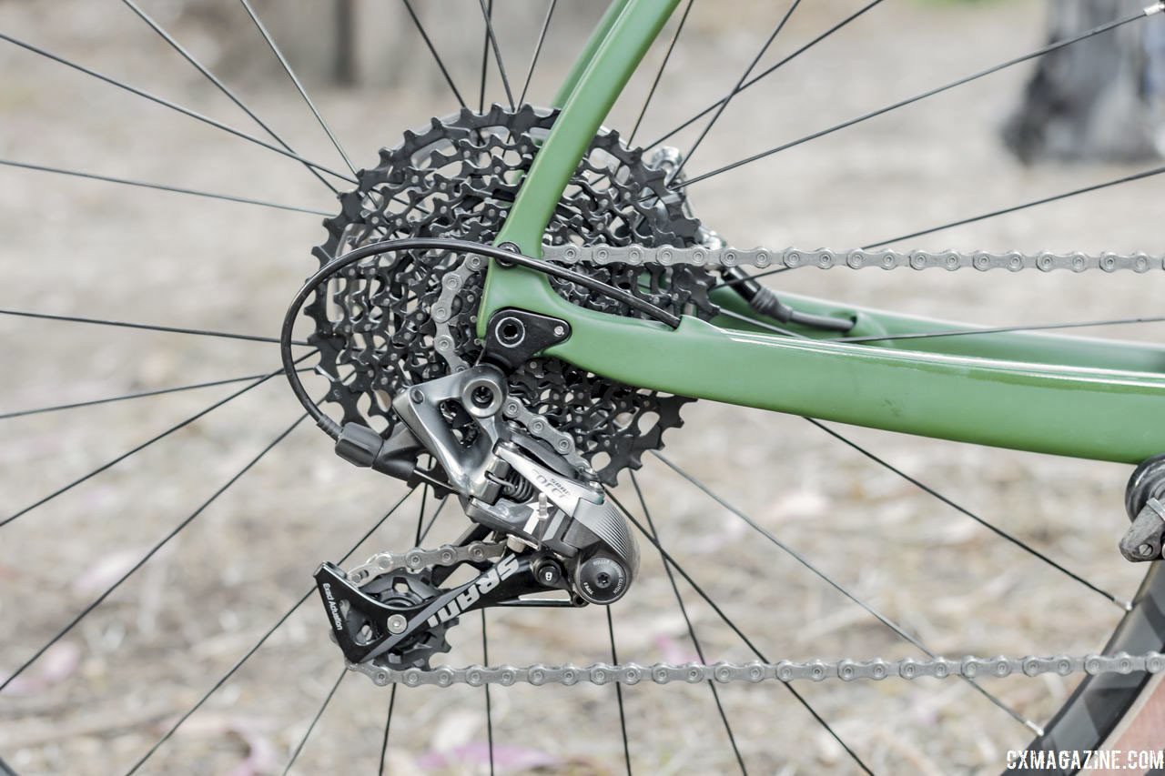 The Libre DL comes with a 1x drivetrain with a SRAM Force 1 rear derailleur. Kona Libre DL Gravel/Adventure Bike. © C. Lee / Cyclocross Magazine