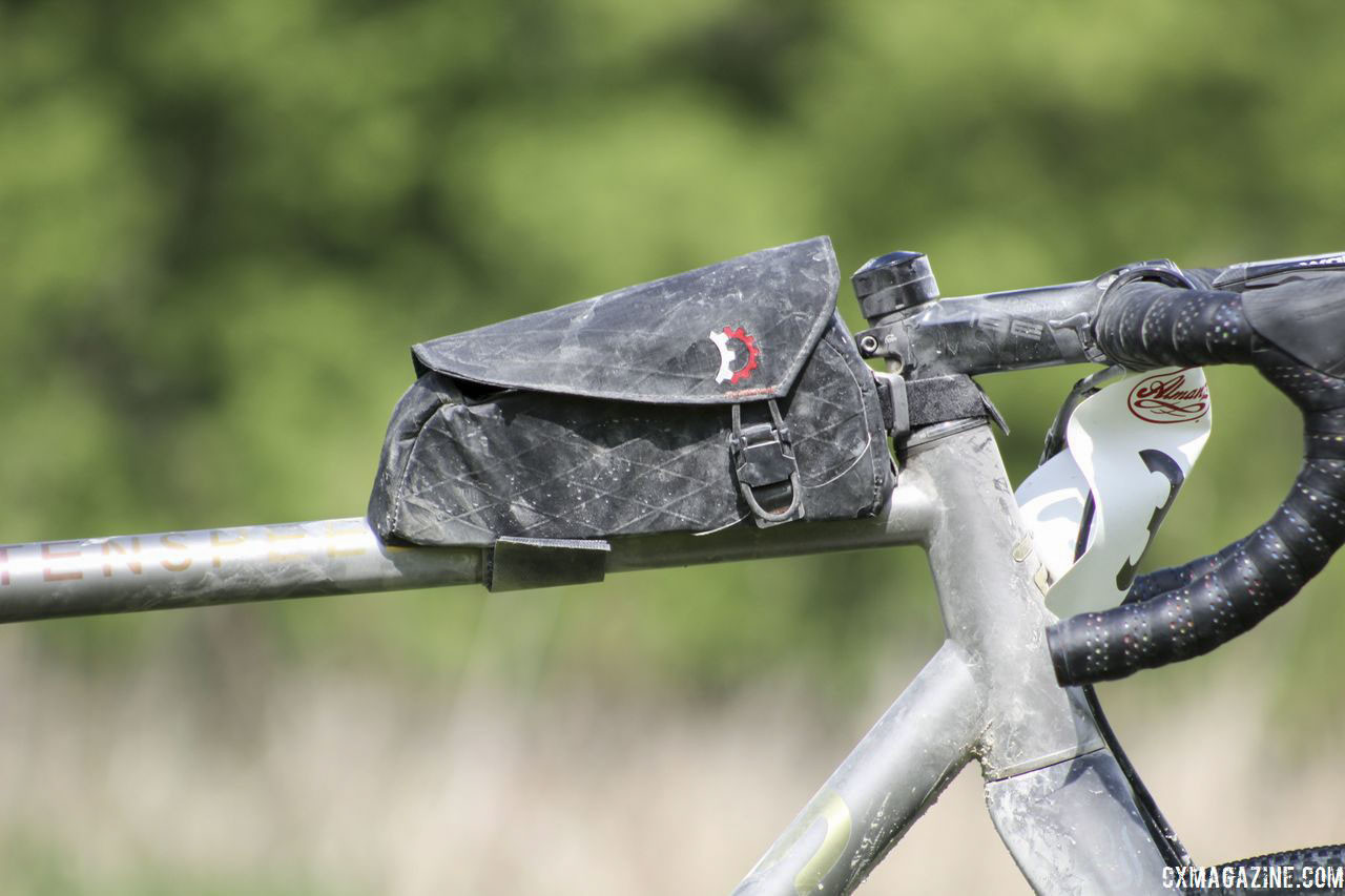 One gravel touch is this Relevate Designs Mag-Tank top tube bag. Kristen Legan's Titanium Firefly Cyclocross/Gravel Bike. © Z. Schuster / Cyclocross Magazine