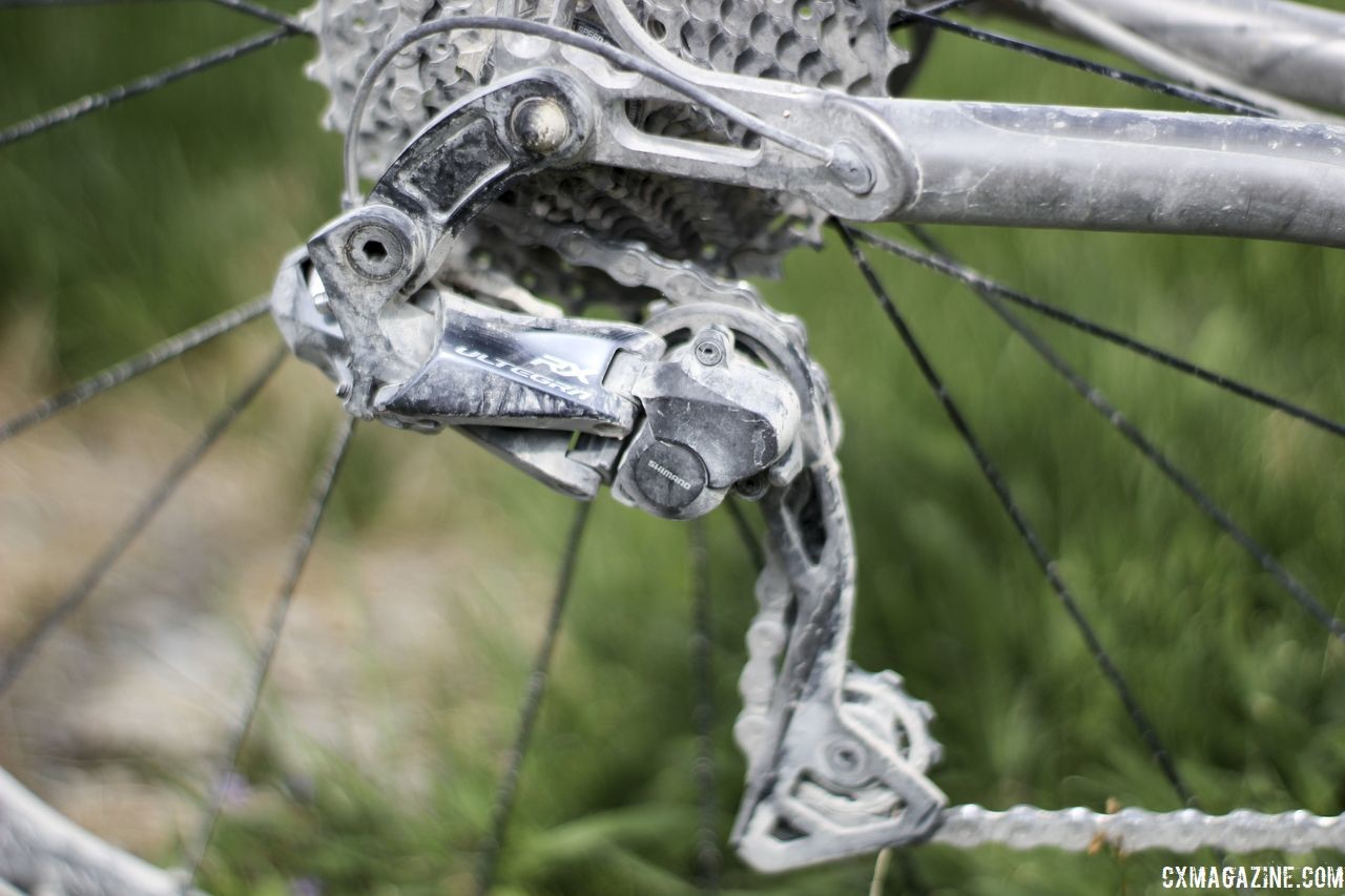 Legan was running the then-new RX805 Di2 clutch rear derailleur at Almanzo. She used it during cyclocross season as well. Kristen Legan's Titanium Firefly Cyclocross/Gravel Bike. © Z. Schuster / Cyclocross Magazine