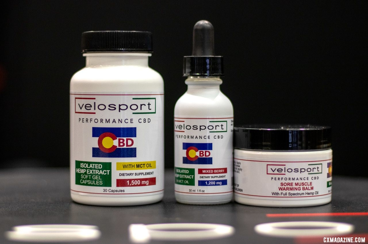 Velosport Imports now offers its own CBD products in the form of extract gel capsules, extract oil, and warming muscle balm. 2019 NAHBS Sacramento. © A. Yee / Cyclocross Magazine