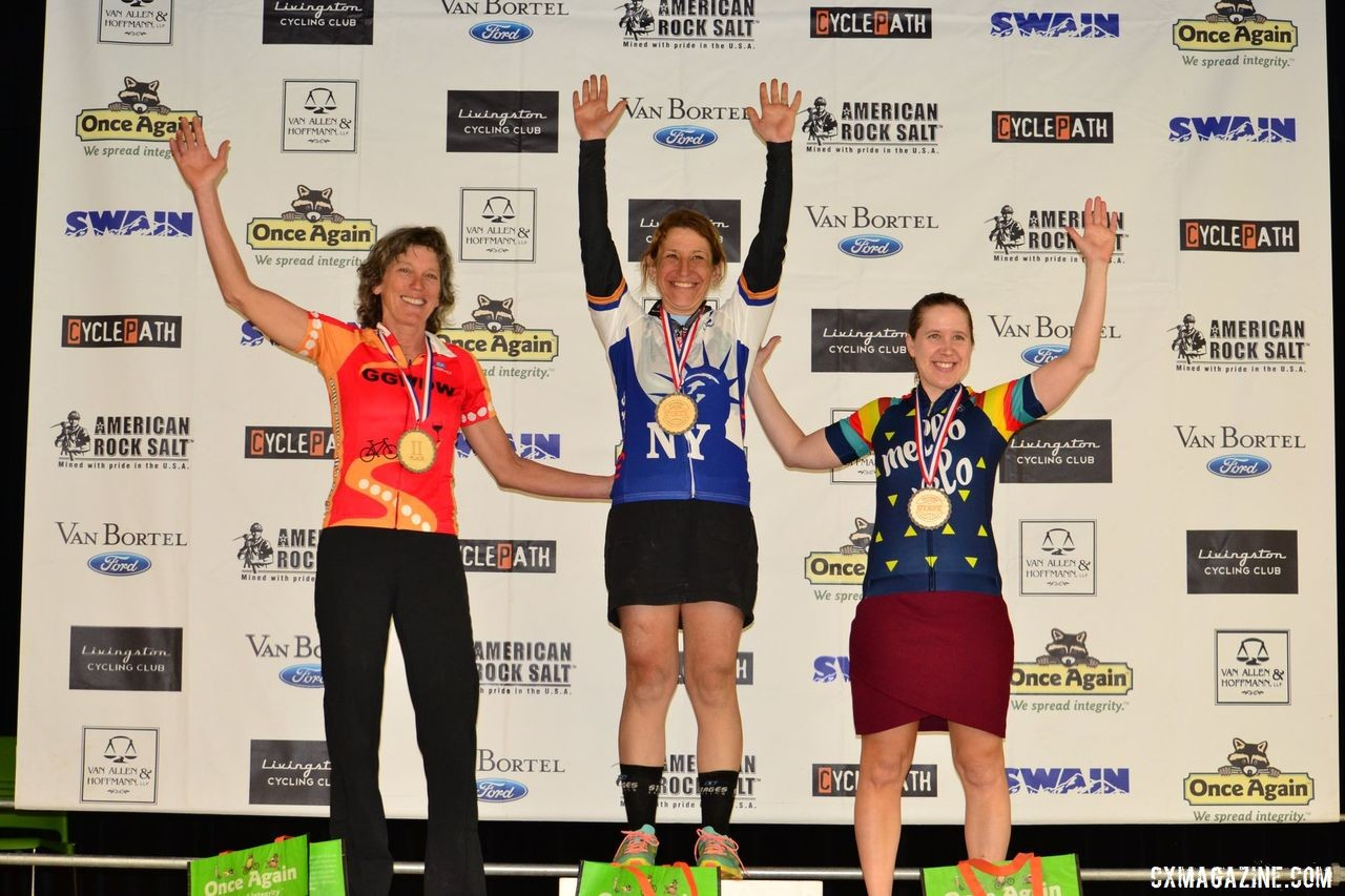 Elite Women's podium: Anne August, Ruth Sherman and Emily Flynn. 2019 Prattsburgh Gravel Classic, New York. © Anne Pellerin