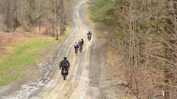 The gravel motos follow race leaders Curtis White, Jeremy Powers and Anthony Clark. 2019 Prattsburgh Gravel Classic, New York. © Anne Pellerin