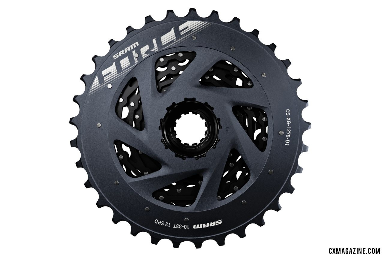 The Force eTAP AXS cassette saves dollars at the expense of grams with seven stamped and pinned cogs instead of X-Dome construction as seen with Red. SRAM unveils its new Force eTap AXS component group.