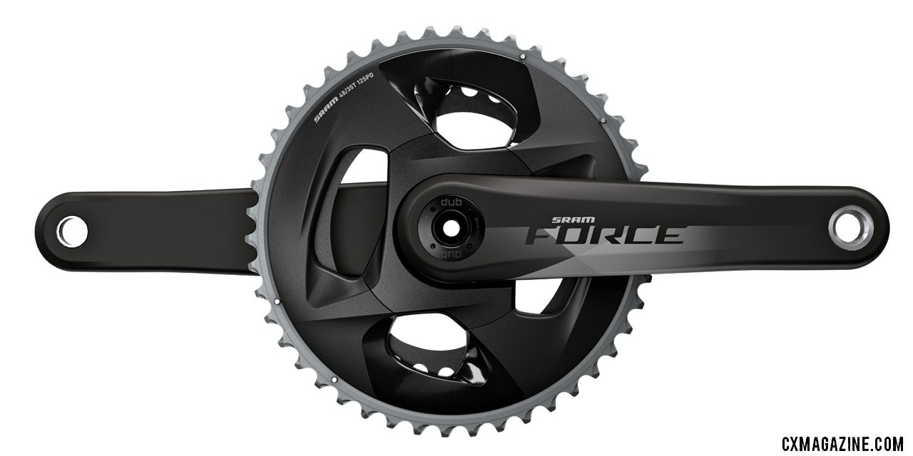 The SRAM Force eTap AXS crankset comes in 2x, 1x, and spider-based power meter options. Dual rings are separate rings, unlike Red's one-piece unit. SRAM unveils its new Force eTap AXS component group.