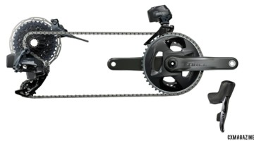 SRAM unveils its new Force eTap AXS component group, in a dual chainring, 23-speed option. The group offers 33/46 and 35/48 chainrings but not the 37/50 option. Groups are 239-352g heavier.