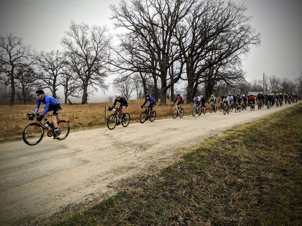 Even though the toughest sector has been removed, there is still plenty of gravel on the RR100 course. 2019 Rough Road 100 Gravel Race. © Craig Patnode