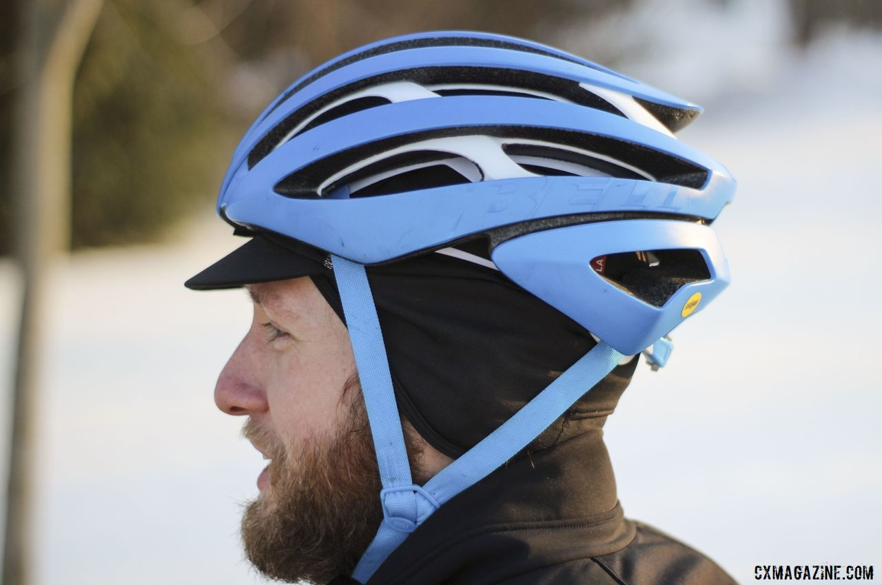 The helmet sits relatively low and can be accessorized for cold weather. Bell Z20 MIPS Bicycle Helmet. © Z. Schuster / Cyclocross Magazine