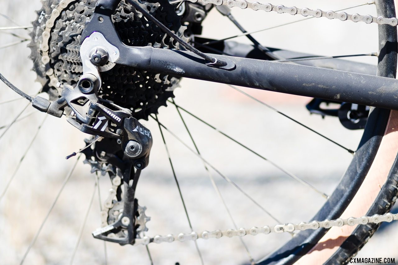 The Limited Edition SRAM Apex 1x11 Poseidon X pairs an Apex rear derailleur with a Microshift 11-42 cassette. 2019 Sea Otter Classic. © A. Yee / Cyclocross Magazine