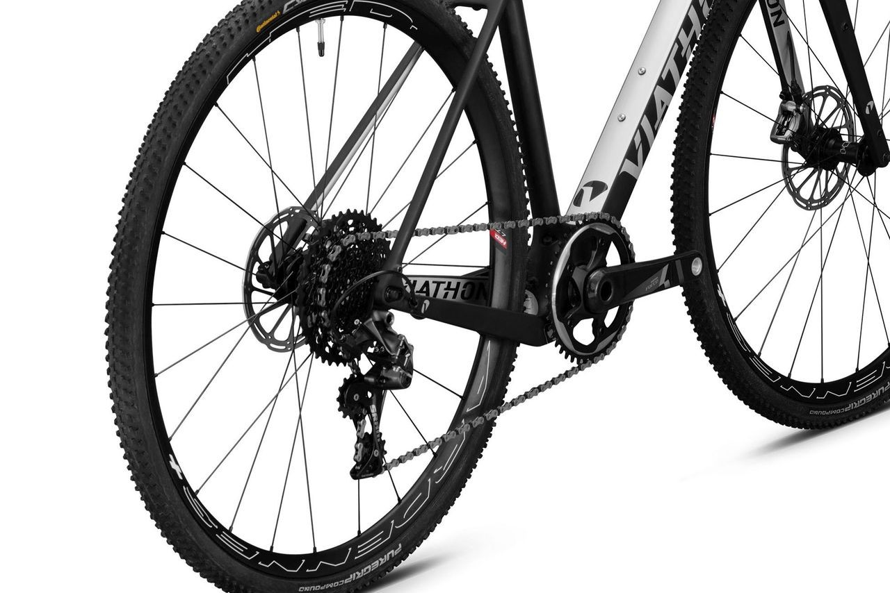 The G1 gravel bike has a dropped chainstay for increased clearance. Viathon G1 Gravel Bike Launch