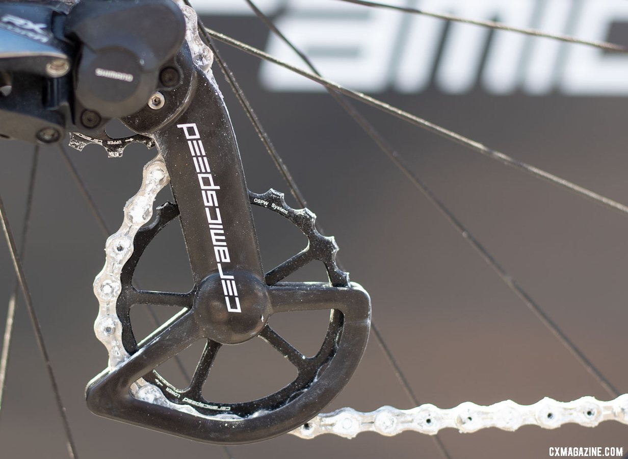 Ceramicspeed says the oversized pulley and bearings are designed for cyclocross and gravel, greatly outlast the standard pulleys, and are warrantied for 4 years, or 6 years if you upgrade to coated bearings. 2019 Sea Otter Classic. © A. Yee / Cyclocross Magazine