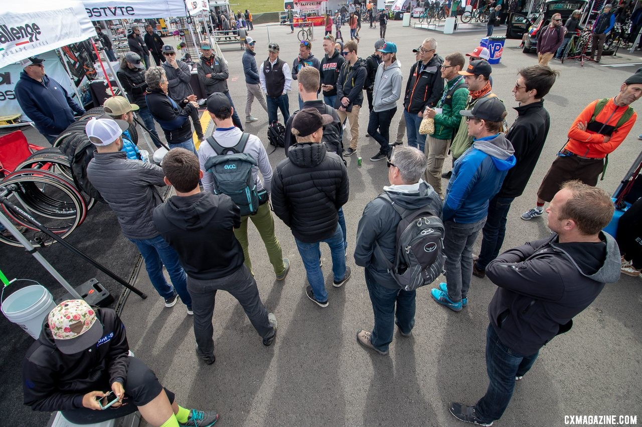 Many of the tire and wheel companies gathered to discuss and debate tire and wheel standards. 2019 Sea Otter Classic. © A. Yee / Cyclocross Magazine